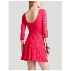 { free people } hot pink lace skater dress